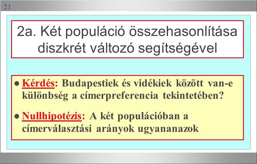 2a. Két populáció összehasonlítása diszkrét változó segítségével