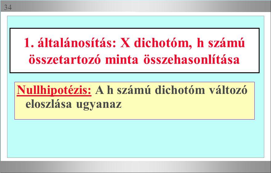 1. általánosítás: X dichotóm, h számú összetartozó minta összehasonlítása