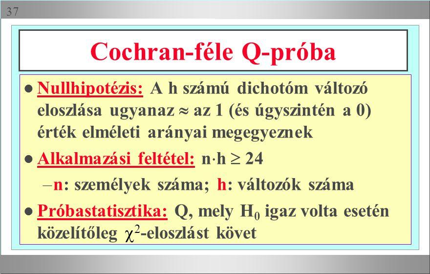 Cochran-féle Q-próba Nullhipotézis: A h számú dichotóm változó eloszlása ugyanaz  az 1 (és úgyszintén a 0) érték elméleti arányai megegyeznek.