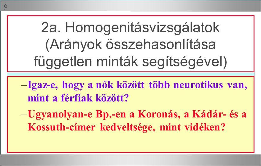 2a. Homogenitásvizsgálatok (Arányok összehasonlítása független minták segítségével)