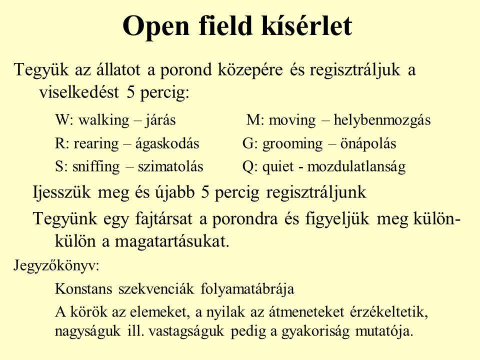 Open field kísérlet Tegyük az állatot a porond közepére és regisztráljuk a viselkedést 5 percig: W: walking – járás M: moving – helybenmozgás.