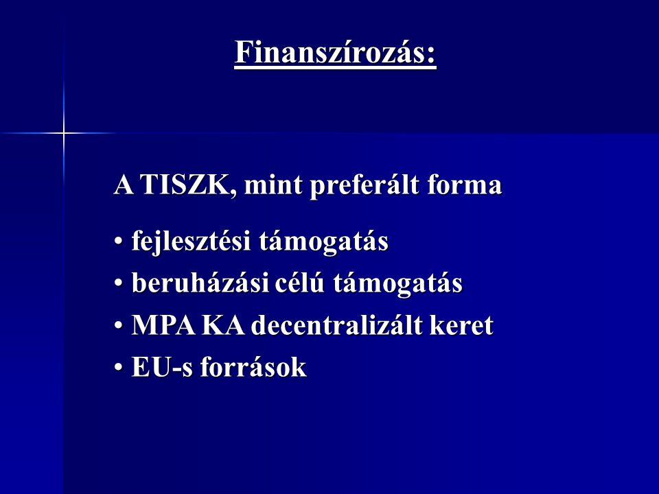 Finanszírozás: A TISZK, mint preferált forma fejlesztési támogatás