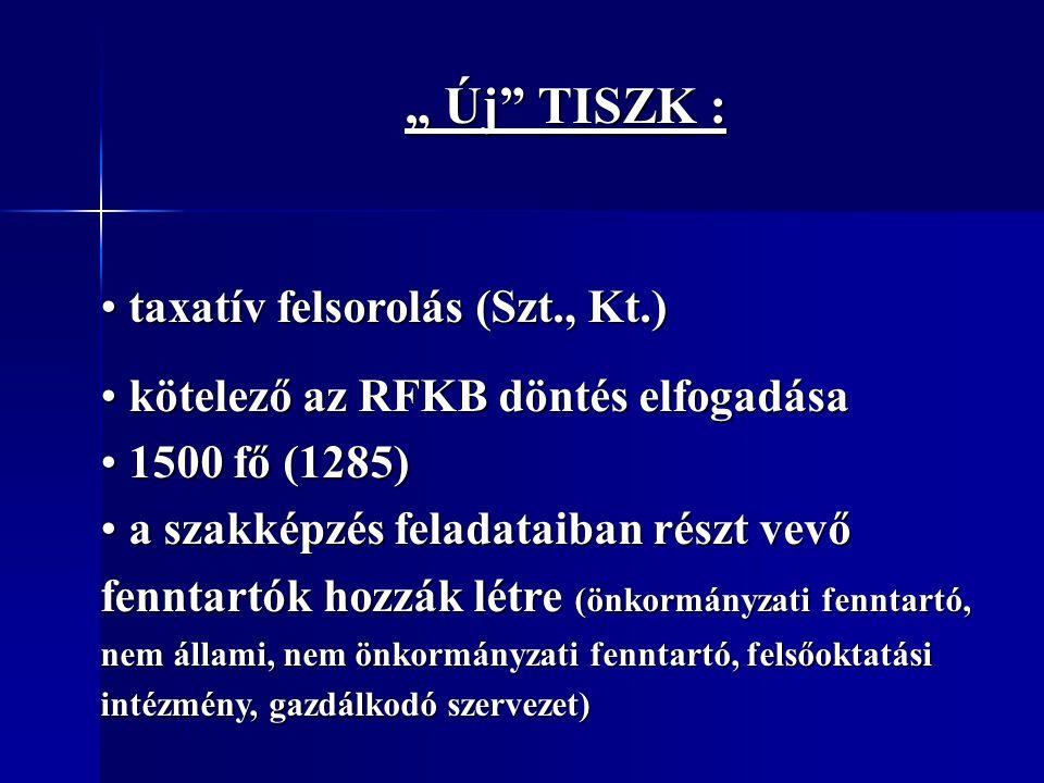 """"""" Új TISZK : taxatív felsorolás (Szt., Kt.)"""