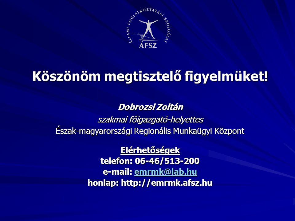 Köszönöm megtisztelő figyelmüket! honlap: http://emrmk.afsz.hu