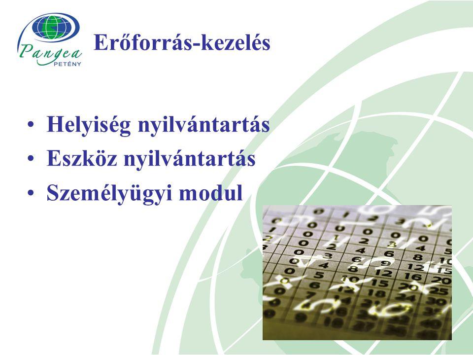 Erőforrás-kezelés Helyiség nyilvántartás Eszköz nyilvántartás Személyügyi modul