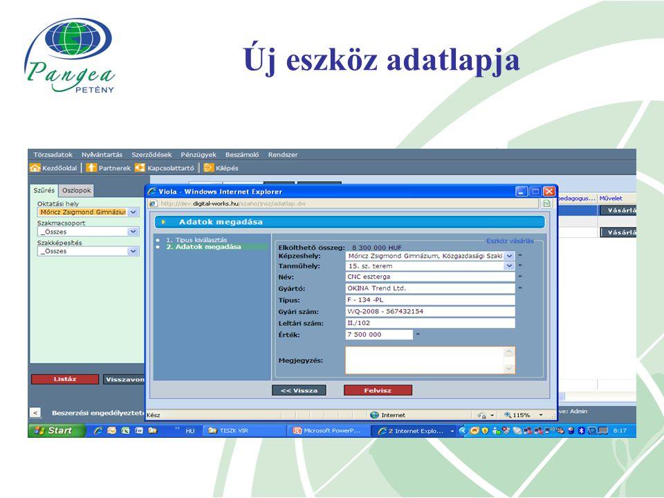 Új eszköz adatlapja