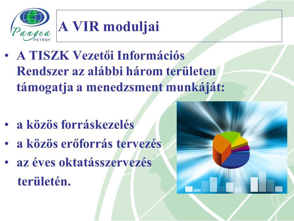 A VIR moduljai A TISZK Vezetői Információs Rendszer az alábbi három területen támogatja a menedzsment munkáját: