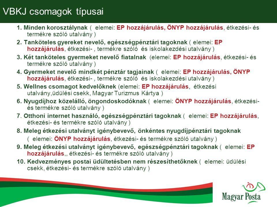 VBKJ csomagok típusai 1. Minden korosztálynak ( elemei: EP hozzájárulás, ÖNYP hozzájárulás, étkezési- és termékre szóló utalvány )