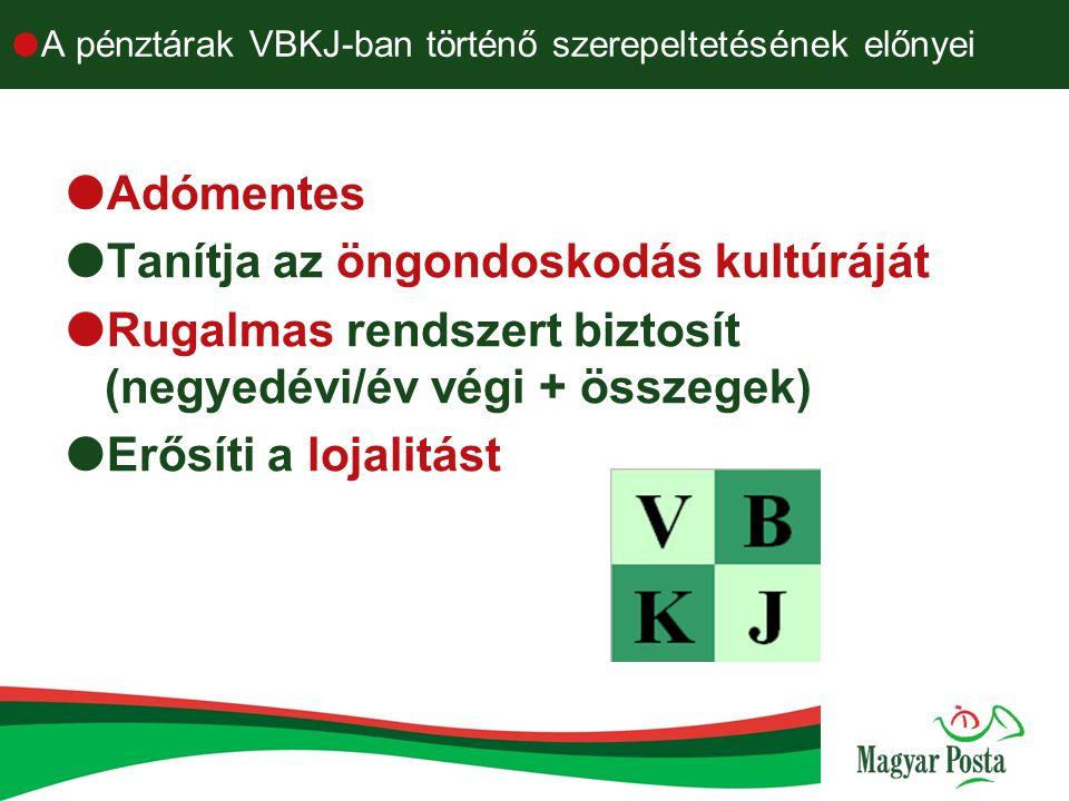 A pénztárak VBKJ-ban történő szerepeltetésének előnyei