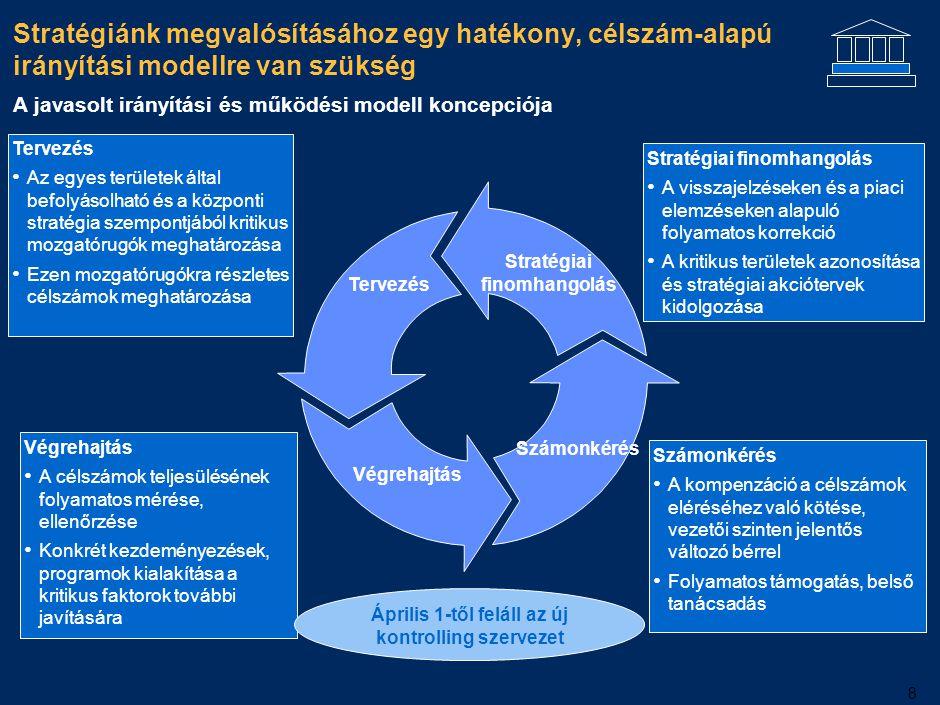 Az irányítási modellt egy funkcionális szervezeti struktúra támasztja alá