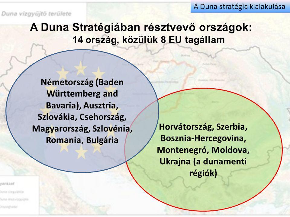 A Duna Stratégiában résztvevő országok: