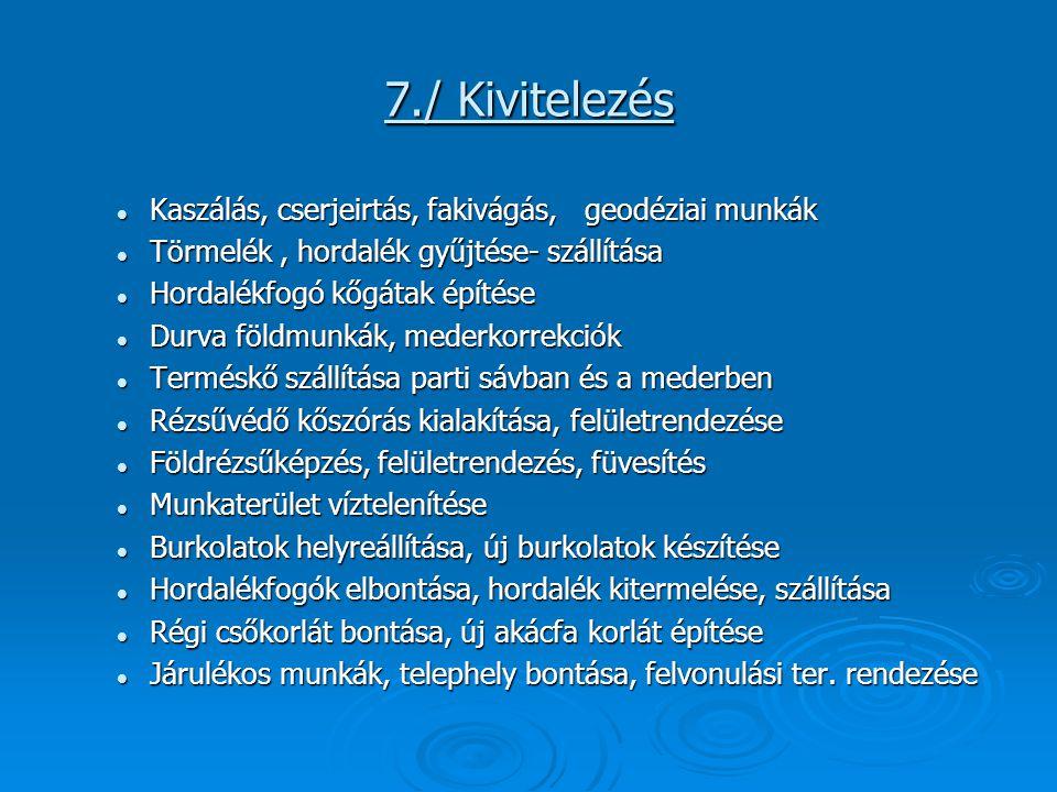 7./ Kivitelezés Kaszálás, cserjeirtás, fakivágás, geodéziai munkák
