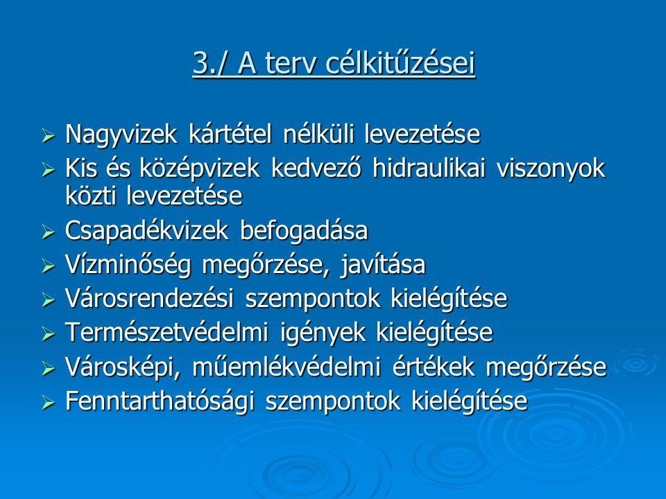 3./ A terv célkitűzései Nagyvizek kártétel nélküli levezetése
