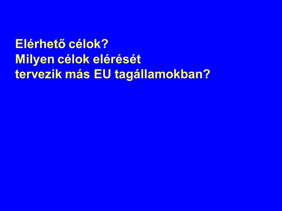 Elérhető célok Milyen célok elérését tervezik más EU tagállamokban
