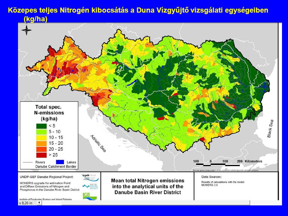 Közepes teljes Nitrogén kibocsátás a Duna Vízgyűjtő vizsgálati egységeiben