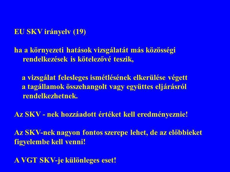 EU SKV irányelv (19) ha a környezeti hatások vizsgálatát más közösségi rendelkezések is kötelezővé teszik,