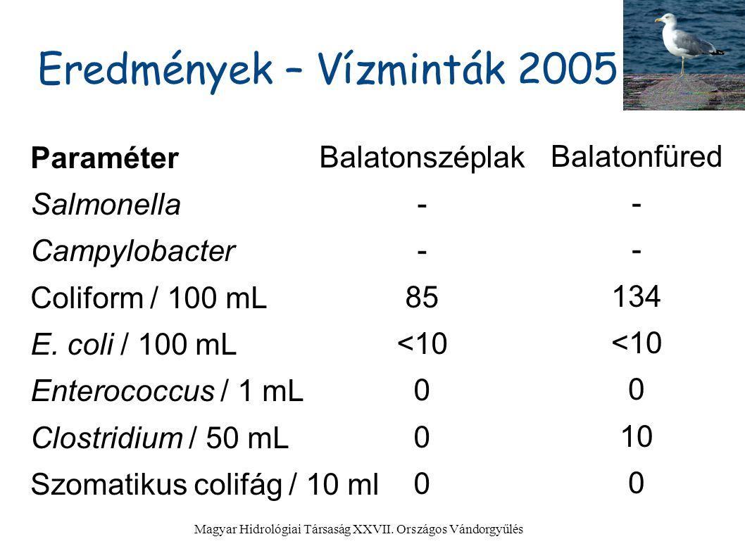 Eredmények – Vízminták 2005