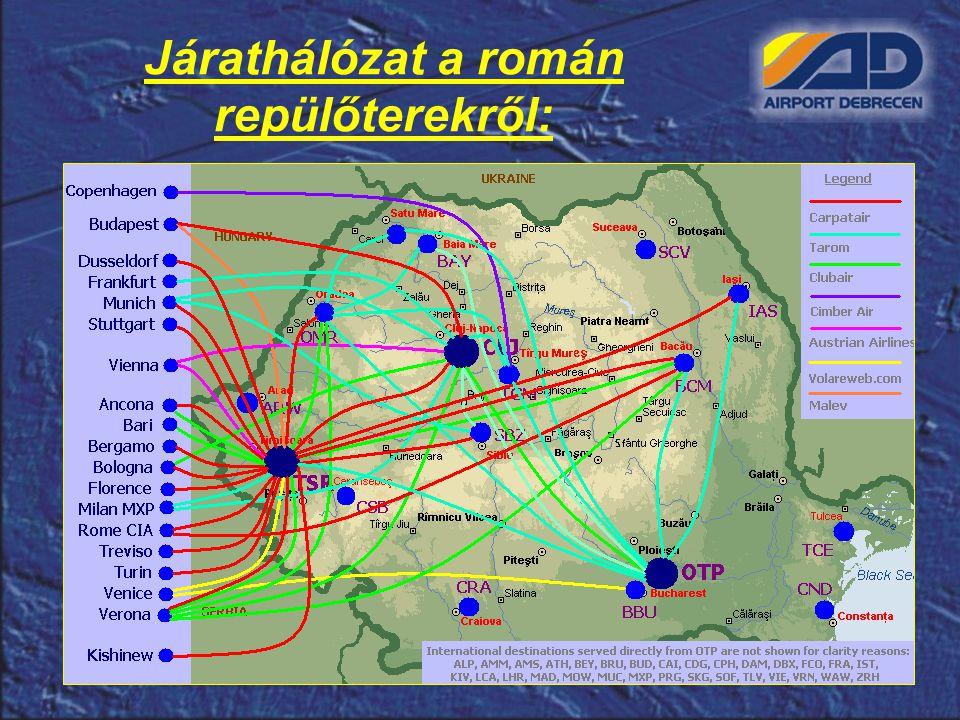 Járathálózat a román repülőterekről: