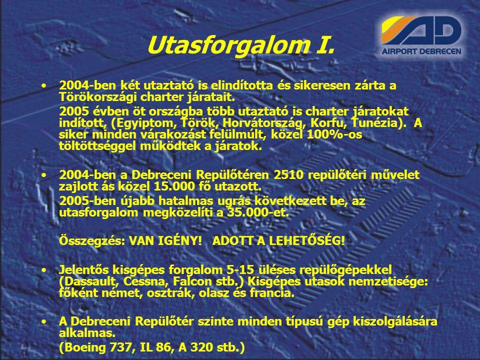Utasforgalom I. 2004-ben két utaztató is elindította és sikeresen zárta a Törökországi charter járatait.