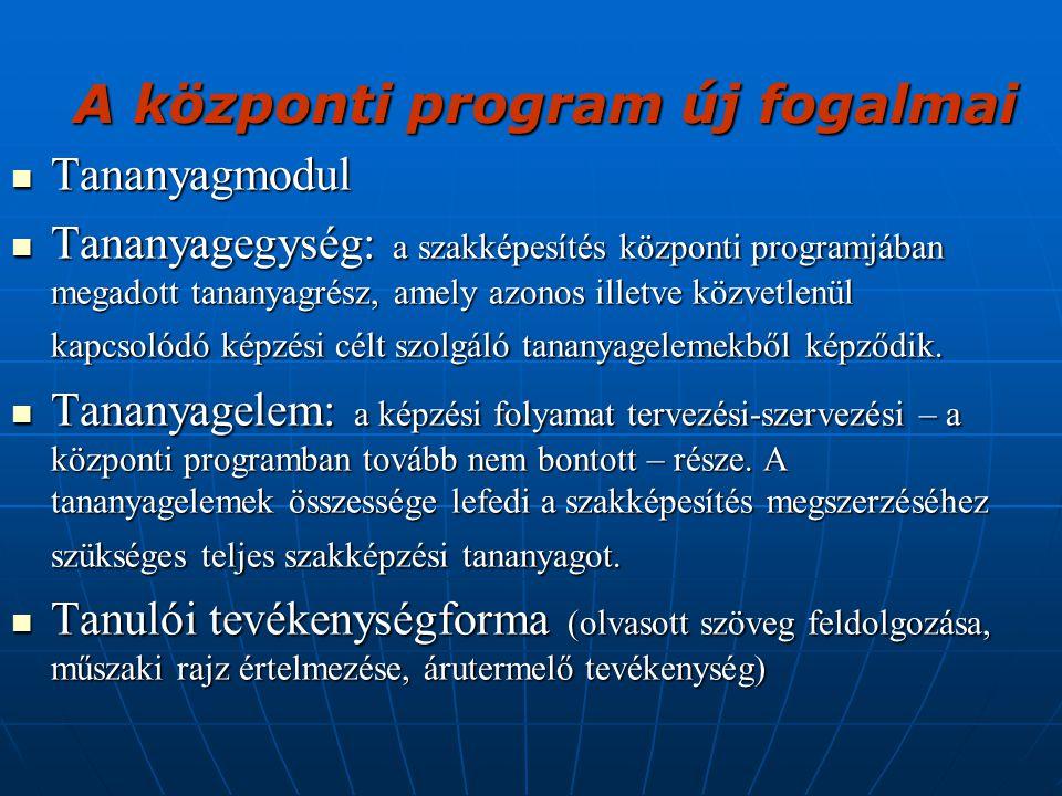 A központi program új fogalmai