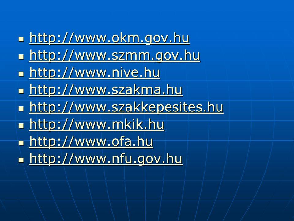 http://www.okm.gov.hu http://www.szmm.gov.hu. http://www.nive.hu. http://www.szakma.hu. http://www.szakkepesites.hu.