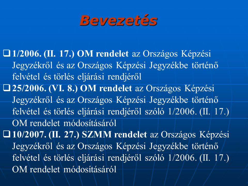 Bevezetés 1/2006. (II. 17.) OM rendelet az Országos Képzési Jegyzékről és az Országos Képzési Jegyzékbe történő felvétel és törlés eljárási rendjéről.
