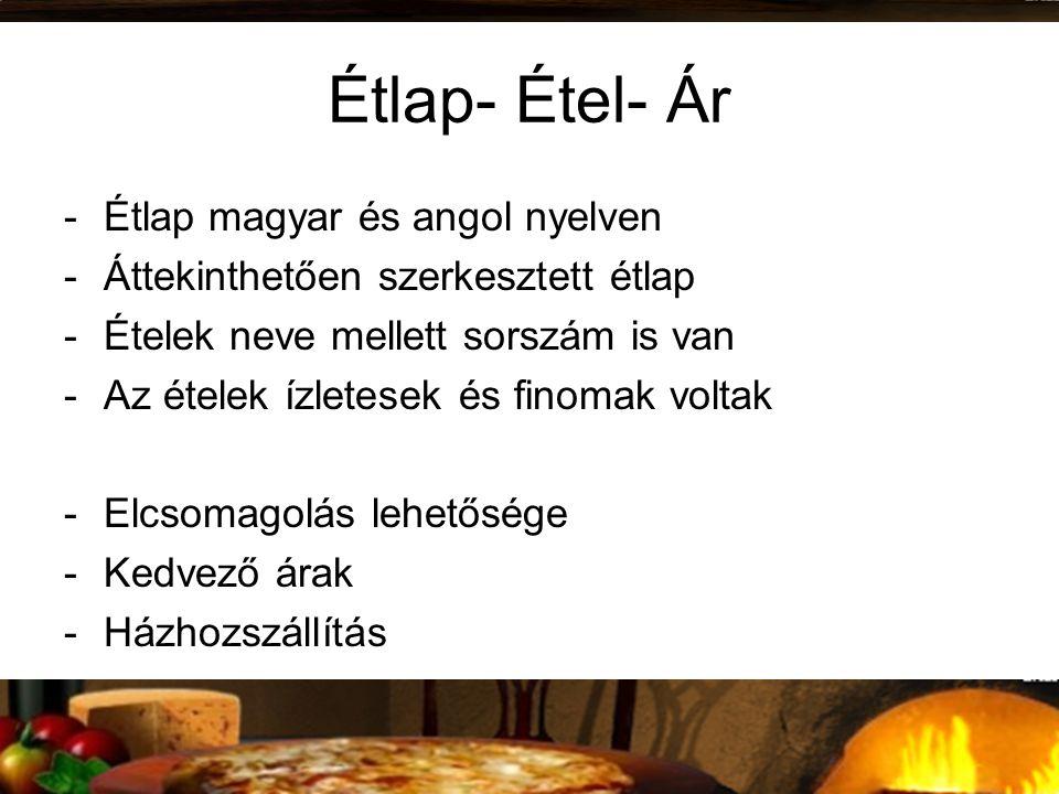 Étlap- Étel- Ár Étlap magyar és angol nyelven