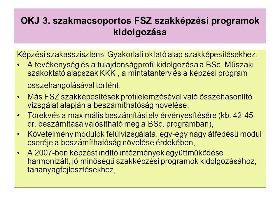 OKJ 3. szakmacsoportos FSZ szakképzési programok kidolgozása