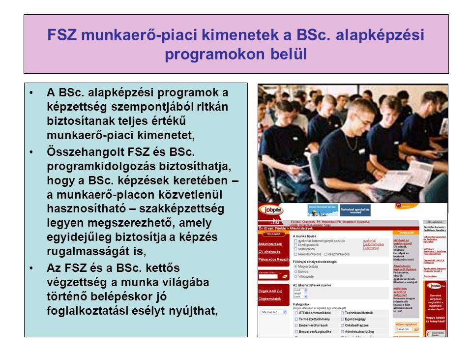 FSZ munkaerő-piaci kimenetek a BSc. alapképzési programokon belül