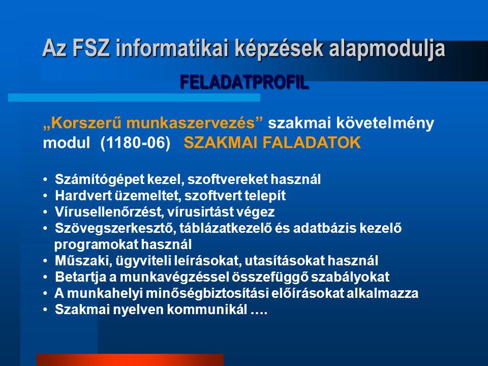 Az FSZ informatikai képzések alapmodulja FELADATPROFIL