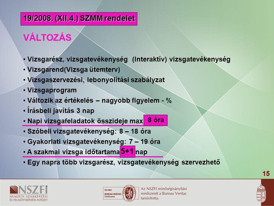 VÁLTOZÁS 19/2008. (XII.4.) SZMM rendelet 5+1