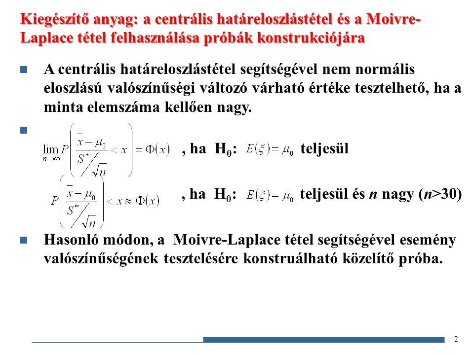 Kiegészítő anyag: a centrális határeloszlástétel és a Moivre-Laplace tétel felhasználása próbák konstrukciójára
