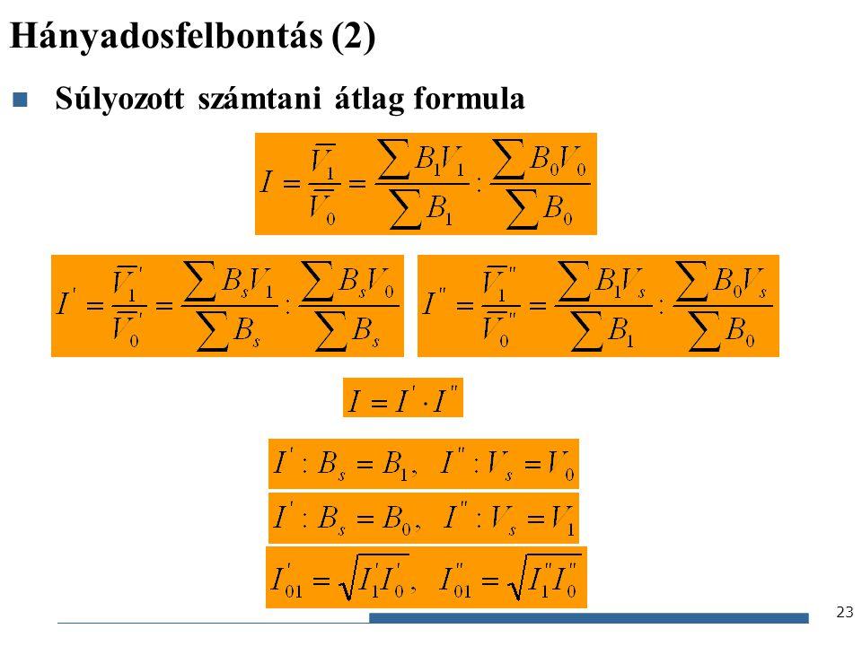 Hányadosfelbontás (2) Súlyozott számtani átlag formula