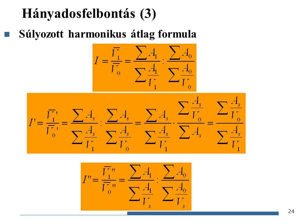 Hányadosfelbontás (3) Súlyozott harmonikus átlag formula