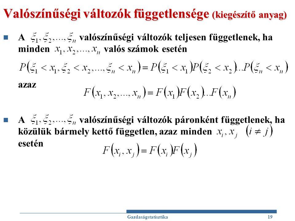 Valószínűségi változók függetlensége (kiegészítő anyag)