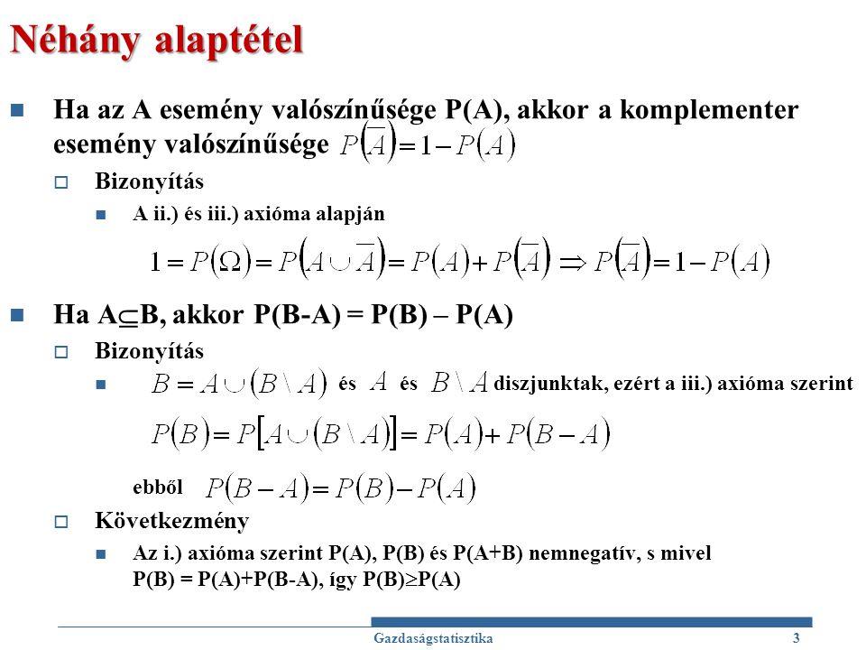 Néhány alaptétel Ha az A esemény valószínűsége P(A), akkor a komplementer esemény valószínűsége. Bizonyítás.