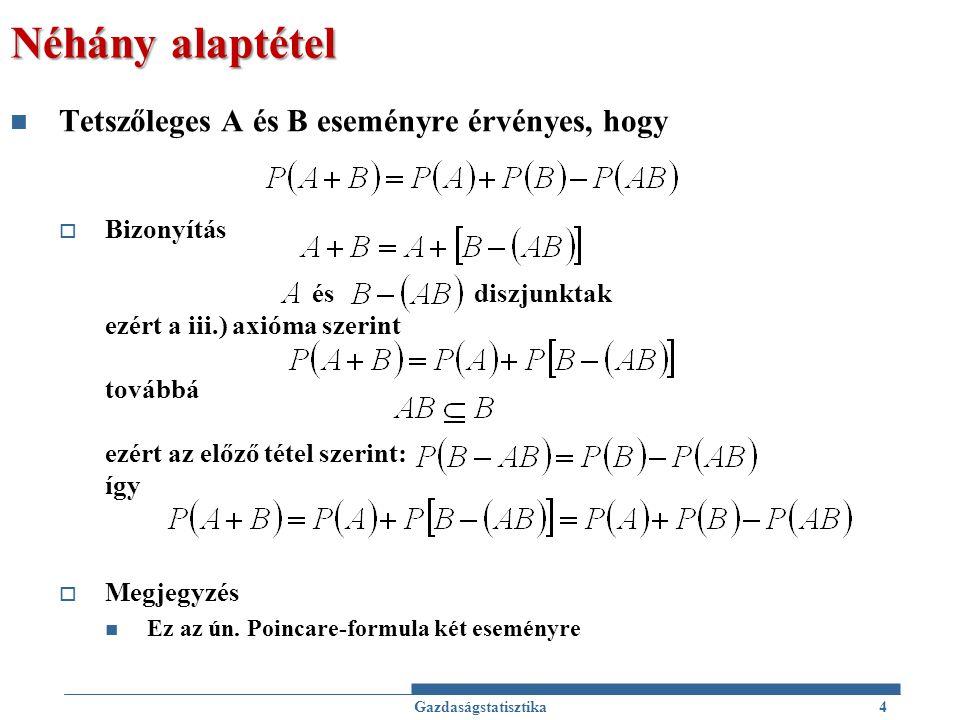 Néhány alaptétel Tetszőleges A és B eseményre érvényes, hogy
