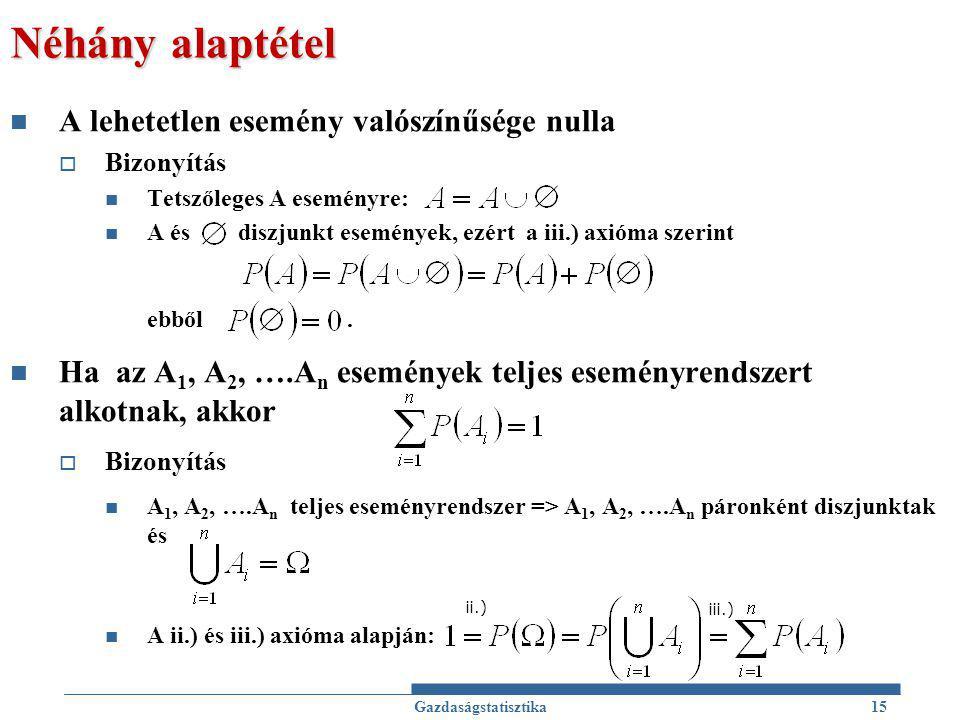 Néhány alaptétel A lehetetlen esemény valószínűsége nulla