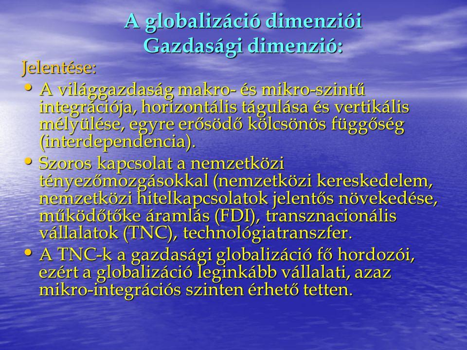 A globalizáció dimenziói Gazdasági dimenzió: