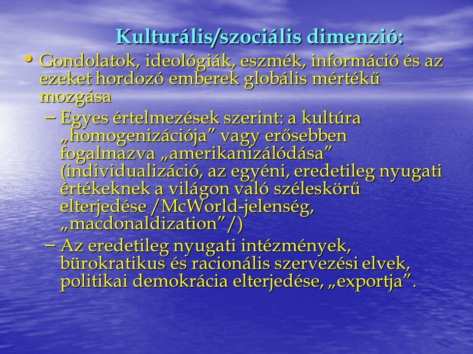 Kulturális/szociális dimenzió: