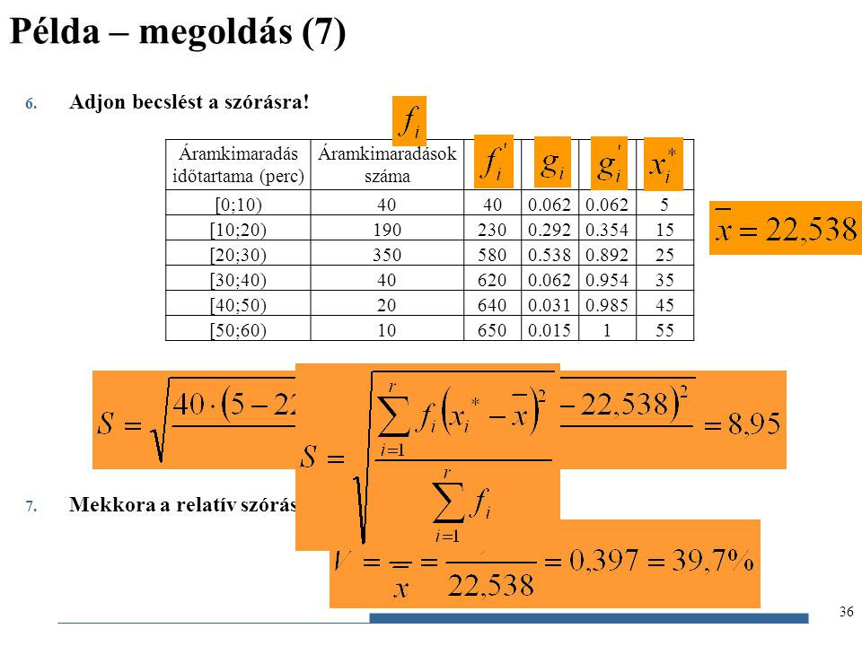 Példa – megoldás (7) Adjon becslést a szórásra!