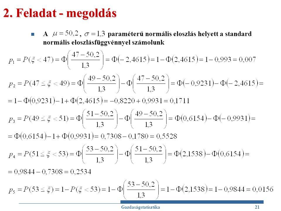 2. Feladat - megoldás A , paraméterű normális eloszlás helyett a standard normális eloszlásfüggvénnyel számolunk.