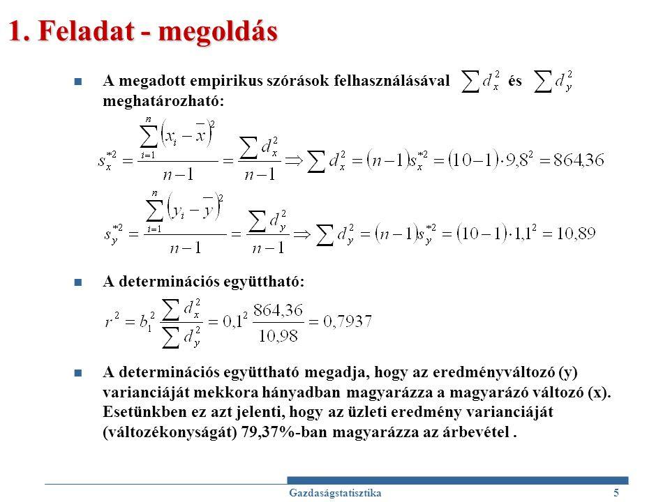 1. Feladat - megoldás A megadott empirikus szórások felhasználásával és meghatározható: