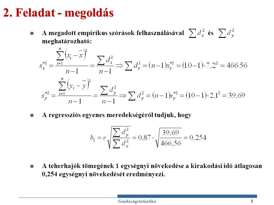 2. Feladat - megoldás A megadott empirikus szórások felhasználásával és meghatározható:
