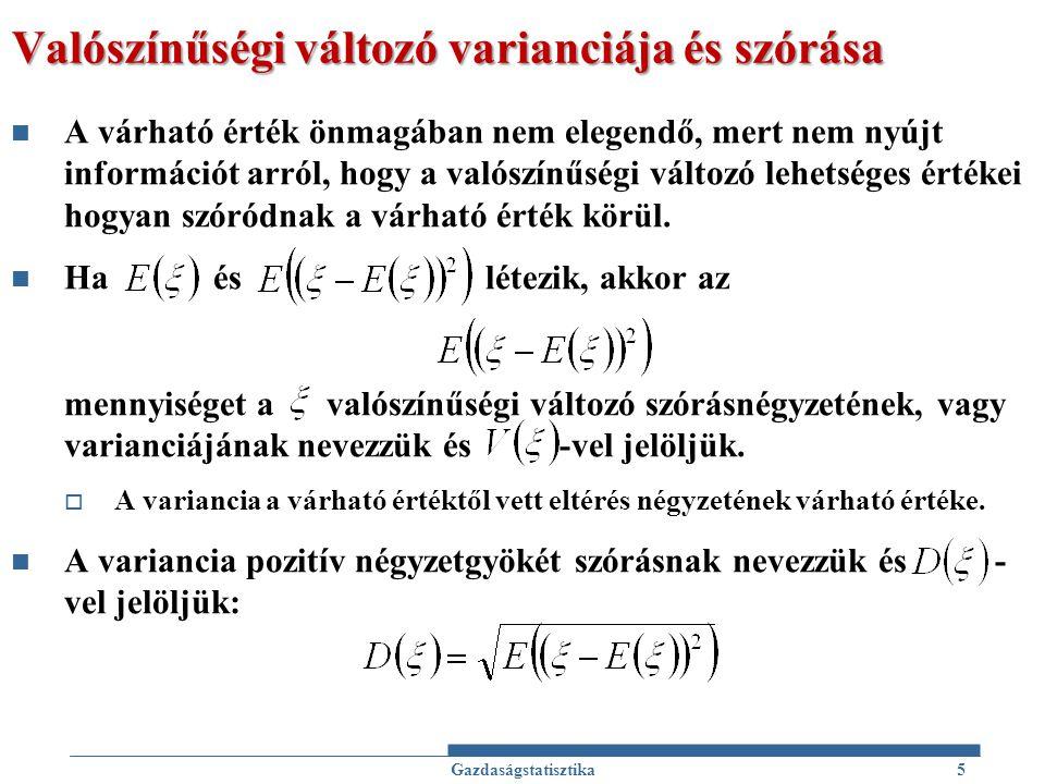 Valószínűségi változó varianciája és szórása