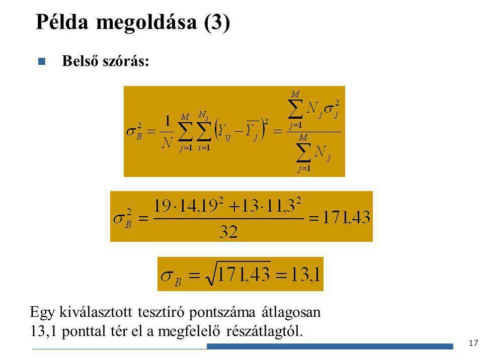 Példa megoldása (3) Belső szórás:
