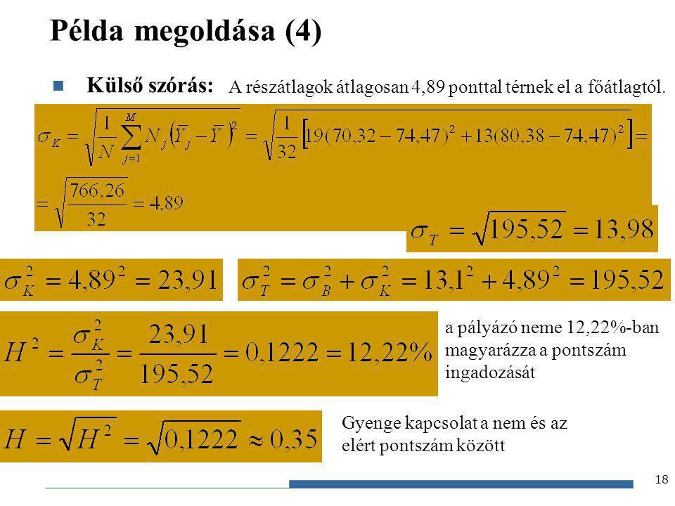 Példa megoldása (4) Külső szórás: