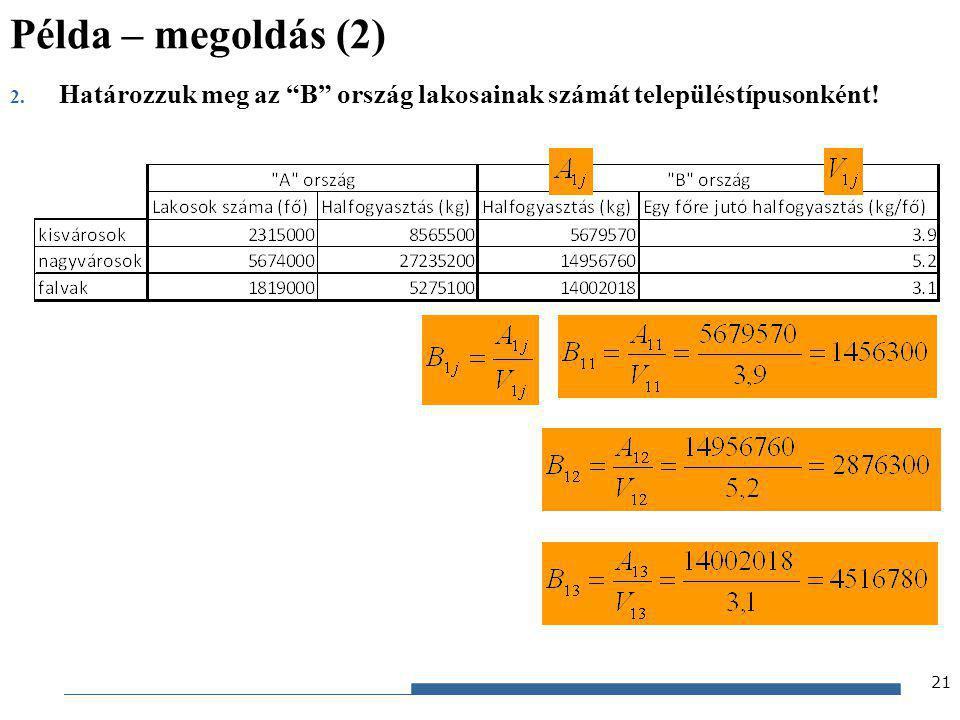 Példa – megoldás (2) Határozzuk meg az B ország lakosainak számát településtípusonként!