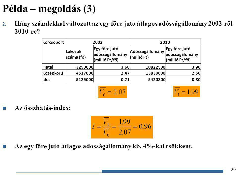 Példa – megoldás (3) Hány százalékkal változott az egy főre jutó átlagos adósságállomány 2002-ről 2010-re