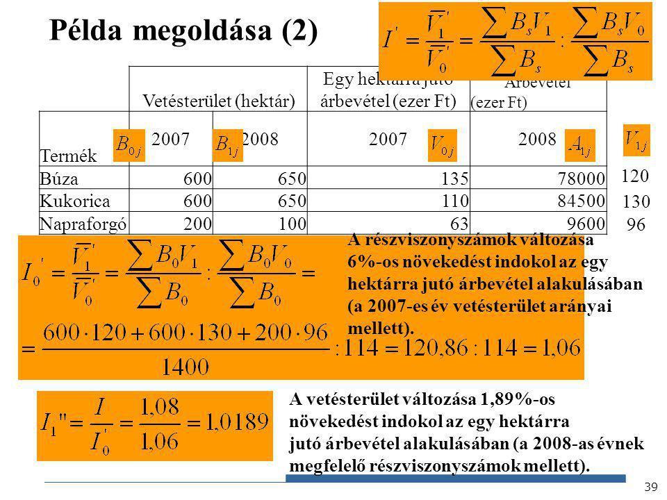 Példa megoldása (2) Vetésterület (hektár)